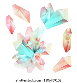 Beautiful watercolor fantasy pink magic crystals set isolated on white