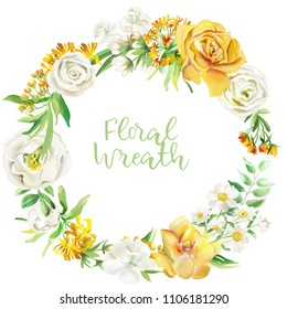 Beautiful watercolor floral frame, wreath, border. Yellow flowers - roses, peonies, marigolds and camomille. Lush foliage and white roses. Isolated on white