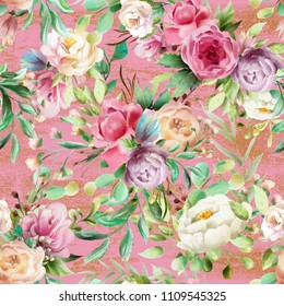 Beautiful, watercolor floral seamless pattern. Violet and cream peoinies, pink roses greenery branch and leaves on pink background with golden glitter