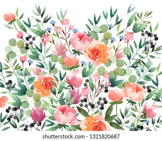 Beautiful watercolor flower background isolated on white background. Floral watercolor background for design, postcards, banners.