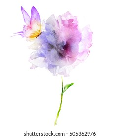 Beautiful watercolor flower with butterfly