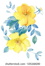 Beautiful watercolor flowers.