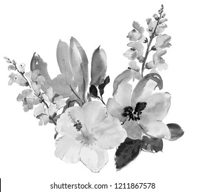 Beautiful watercolor flowers. Black and white colors.