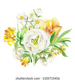 Beautiful watercolor flowers, floral bouquets, wreaths. Yellow flowers - roses, peonies, marigolds and camomille. Lush foliage and white roses. Isoltaed on white