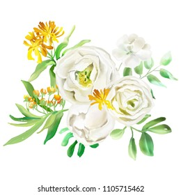 Beautiful watercolor flowers, floral bouquets, wreaths. Yellow flowers - roses, peonies, marigolds and camomille. Lush foliage and white roses. Isolated on white