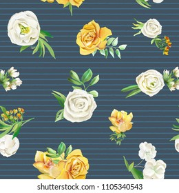 Beautiful watercolor flowers seamless pattern on dark striped background. Yellow flowers - roses, peonies, marigolds and camomille. Lush foliage and white roses