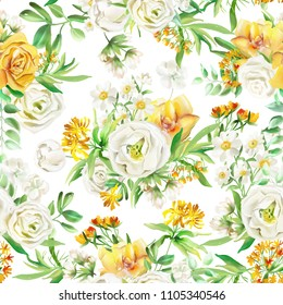 Beautiful watercolor flowers seamless pattern on white background. Yellow flowers - roses, peonies, marigolds and camomille. Lush foliage and white roses. Isolated on white