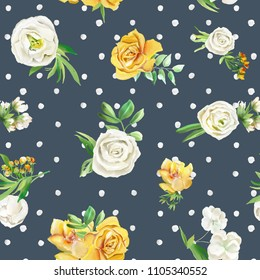 Beautiful watercolor flowers seamless pattern on dark background with polka dots. Yellow flowers - roses, peonies, marigolds and camomille. Lush foliage and white roses