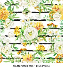 Beautiful watercolor flowers seamless pattern on white background with stripes. Yellow flowers - roses, peonies, marigolds and camomille. Lush foliage and white roses. Isolated on white