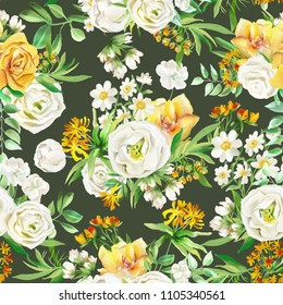Beautiful watercolor flowers seamless pattern on dark background. Yellow flowers - roses, peonies, marigolds and camomille. Lush foliage and white roses