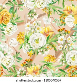 Beautiful watercolor flowers seamless pattern on beige  background with wooden branches. Yellow flowers - roses, peonies, marigolds and camomille. Lush foliage and white roses