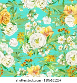 Beautiful watercolor flowers seamless pattern on turquoise background with golden texture. Yellow flowers - roses, peonies, marigolds and camomille. Lush foliage and white roses