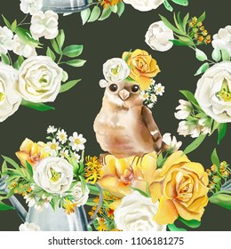 Beautiful watercolor flowers seamless pattern on dark background with rustic garden watering can and cute bird in floral crown. Yellow flowers - roses, peonies, marigolds and camomille
