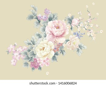 Beautiful watercolor flowers for your design and greeting cards for the holiday