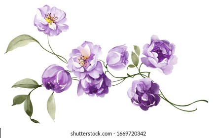 Beautiful watercolor flowers for your design and floral pattern for wallpaper or fabric