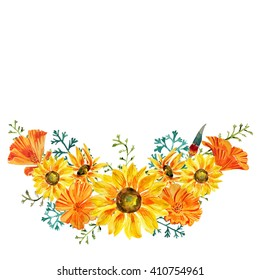 Beautiful watercolor hand painted bunch of california poppy and sunflowers. Watercolor painting of yellow and orange flowers wreath. Floral design for background and decoration.