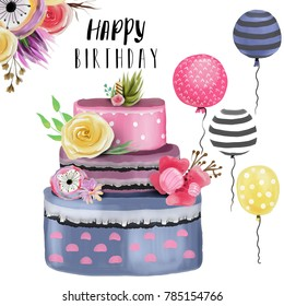 Beautiful Watercolor Happy Birthday Design Element Set Collection Elegance Cake With Floral Decoration
