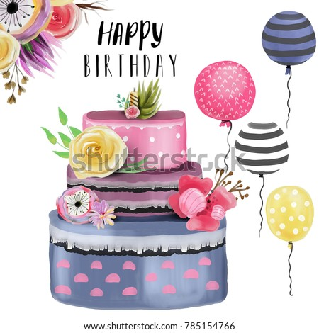 Beautiful Watercolor Happy Birthday Design Element Set Collection Elegance Cake With Floral Decoration Balloons Lettering And Flowers