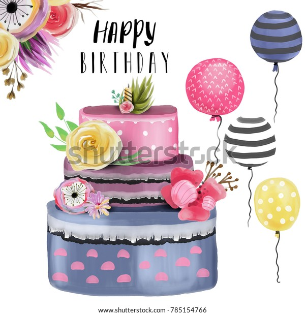 Awe Inspiring Beautiful Watercolor Happy Birthday Design Element Stock Funny Birthday Cards Online Alyptdamsfinfo