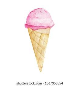 Beautiful watercolor ice cream . Hand drawn dessert