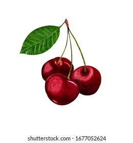 Beautiful watercolor illustration of cherries with green leaf.Isolated on white background.Can be used as pattern for embroidery, greeting card, sticker, print on textiles and other souvenir products.