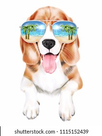 Beautiful watercolor illustration of a cool dog beagle breed in sunglasses with a reflection of palms and beach isolated on white background. Could be used for postcards/ books / prints/ t-shirts etc