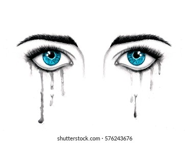 Beautiful watercolor illustration with crying blue eyes. Women's watery eyes. Blue eyes with flowing mascara on isolated background.