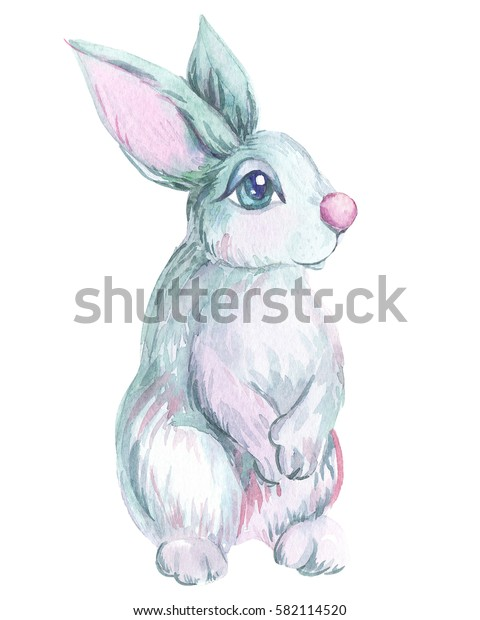 beautiful watercolor illustration of a hare