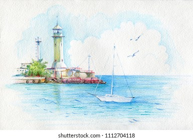 Beautiful watercolor landscape. View of the sea and Yalta Lighthouse. Crimea. Hand painted by watercolor pencils.