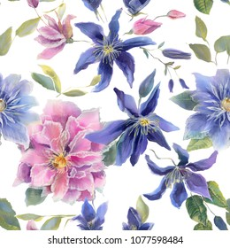 Beautiful watercolor on silk clematis flowers. Blue and pink clematis blooming flowers with leaves, buds and twigs.