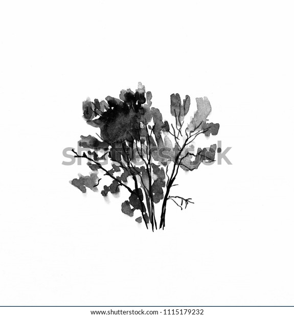 Beautiful watercolor painted tree isolated on white background