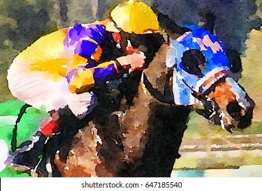 beautiful Watercolor painting of a Race Horse and jockey
