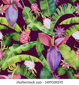 Beautiful watercolor pattern with dragon fruit, passiflora, banana flowers and leaves. Perfect for wrapping paper, fabric, package design.