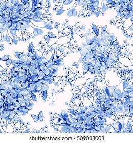 Beautiful watercolor pattern with eucalyptus branches and hydrangea flowers, eustomiya, wildflowers.  Illustrations.