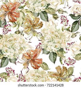 Beautiful watercolor pattern with flowers of hydrangeas and lilies. Ilustration