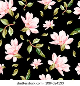 Beautiful watercolor pattern with flowers and leaves of magnolia. Illustration.