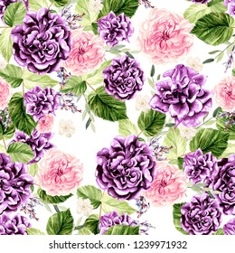 Beautiful watercolor pattern with flowers rose and eucalyptus, leaves, lavender. illustration