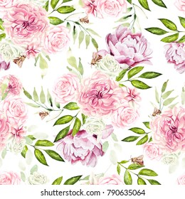 Beautiful watercolor pattern with flowers rose and peony. illustration