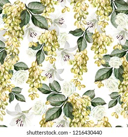 Beautiful watercolor pattern with grapes and flowers of rose, lily. Illustration