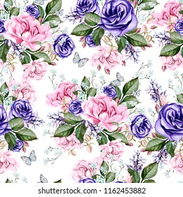 Beautiful watercolor pattern with peony flowers, anemone and rose.  Illustration