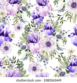 Beautiful watercolor pattern with peony, iris, anemone and roses flowers. Illustration