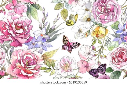 Beautiful watercolor pattern with peony and rose flowers,  butterflies and green leaves. Illustration with pink flowers.