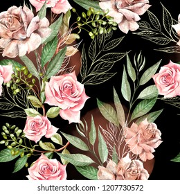 Beautiful watercolor pattern with rose flowers and eucalyptus leaves. Illustration