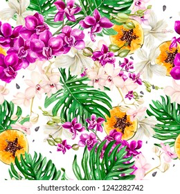 Beautiful watercolor pattern with tropical flowers,orchid, hibiscus, tropical leaves and fruit.  Illustration.