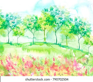 Beautiful watercolor postcard with wild flowers, pink, red plants. Watercolor background. Blossoming meadow, field, countryside landscape. Green Tree. Summer, Spring landscape. Silhouettes of forest.