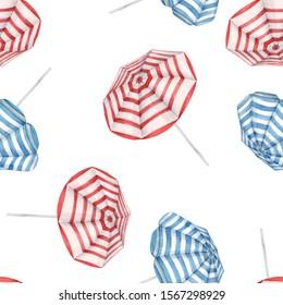 Beautiful watercolor seamless pattern with beach sun umbrellas. Ready summer print for swimwear fabric.