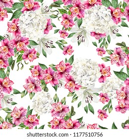 Beautiful watercolor seamless pattern with flowers of Alstroemeria, Hudrangea and lily. Illustration