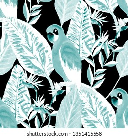 Beautiful watercolor seamless pattern with macaw parrot and tropical flowers and leaves. Bright summer print for any kind of design. Exotic jungle animal wallpaper. Fashion print.