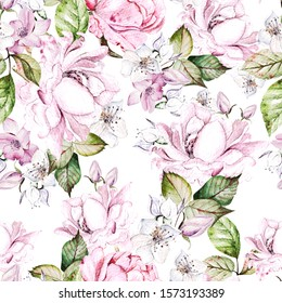 Beautiful watercolor seamless pattern with roses and anemone flowers. Illustration