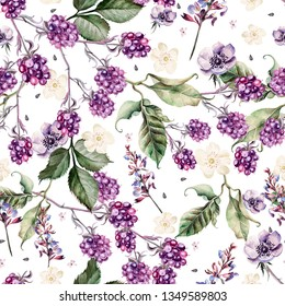 Beautiful watercolor seamless spring pattern with blackberry and flowers anemone, lavender. Illustration